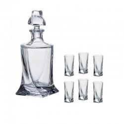 Bohemia Karafka 0.5 L i 6 kieliszków do wódki 50ml QUADRO